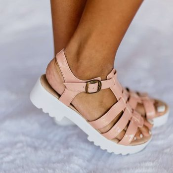 Sandália Salto Baixo Verniz Rosa (bazar)