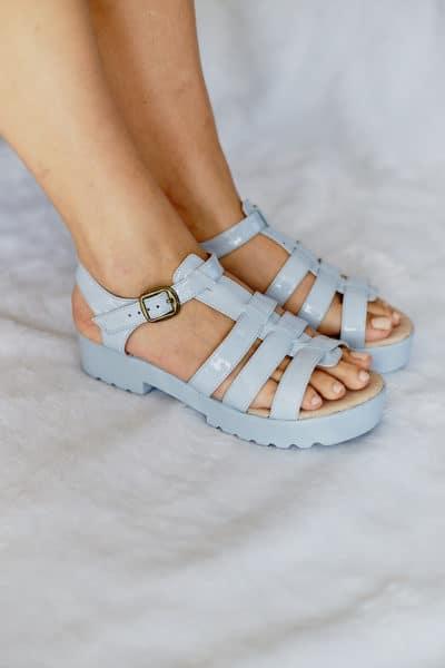 Sandália Salto Baixo Azul