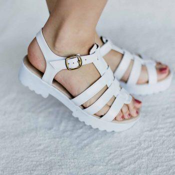 Sandália Salto Baixa Branco