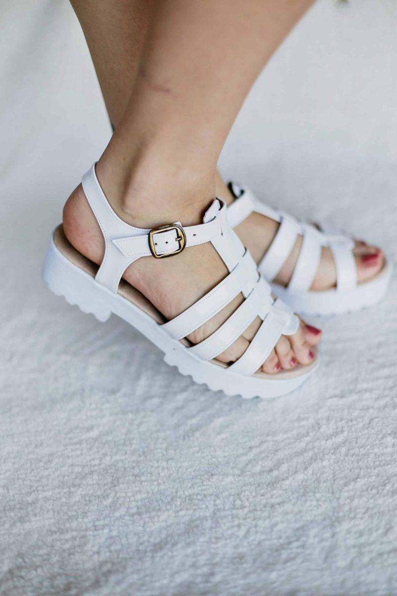Sandalia Tiras Salto Baixo