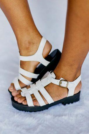 Sandália Salto Baixo Verniz Branco