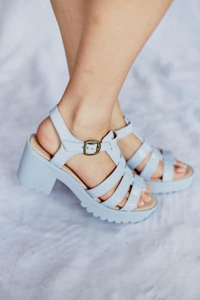 Sandália Salto Alto Azul
