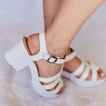 Sandália Salto Alto Branca