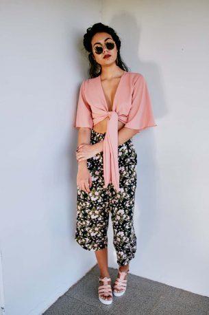 Blusa Tie Top Rosa