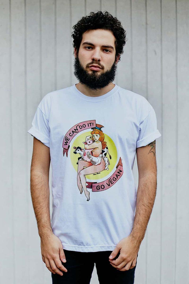 Camiseta ''Go Vegan'' Branca 1