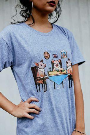 "Camiseta ""Família Tradicional"" Cinza"