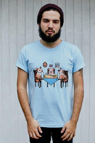 """Camiseta """"Família Tradicional"""" Azul"""