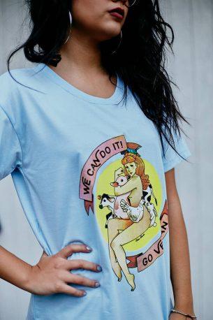 "Camiseta ""Go Vegan"" Azul"