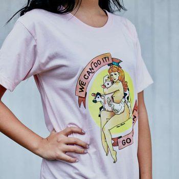 """Camiseta """"Go Vegan"""" Rosa"""