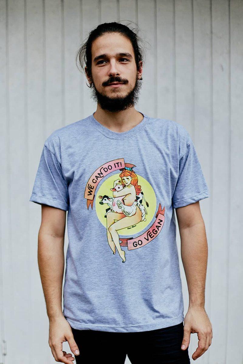 Camiseta ''Go Vegan'' Cinza 2