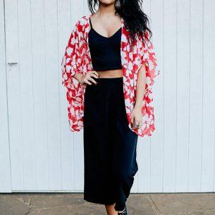 Kimono Curto Floral Vermelho