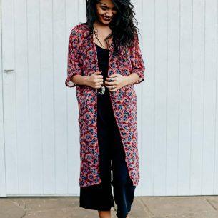 Kimono Longo Floral Vermelho