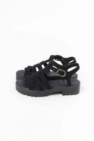 Sandália Salto Baixo Camurça Sintética Preta