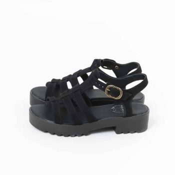 Sandália Salto Baixo Camurça Sintética Preta (bazar)