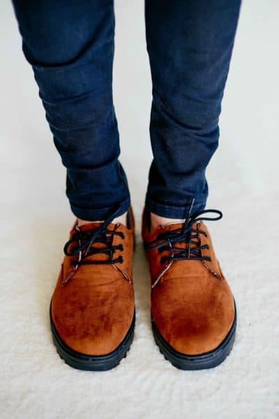 Sapato Casual Camurça Sintética Marrom