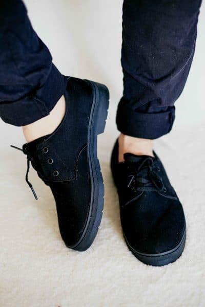 Sapato Casual Camurça Sintética Preta