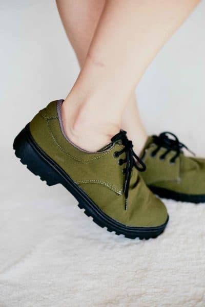 Sapato Casual Lona Verde Oliva