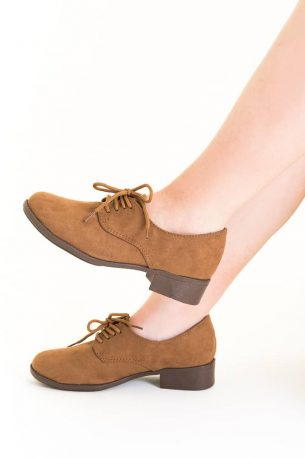 Sapato Oxford Camurça Sintética Marrom