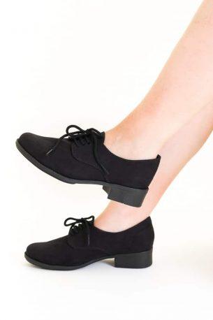 Sapato Oxford Camurça Sintética Preta
